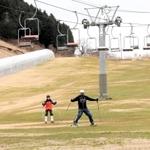 雪のないゲレンデで余儀なくされる「冬の夏営業」。来場者はグラススキーを楽しむ=19日午後、豊岡市日高町太田、アップかんなべうえ野平ゲレンデ(撮影?末吉佳希)